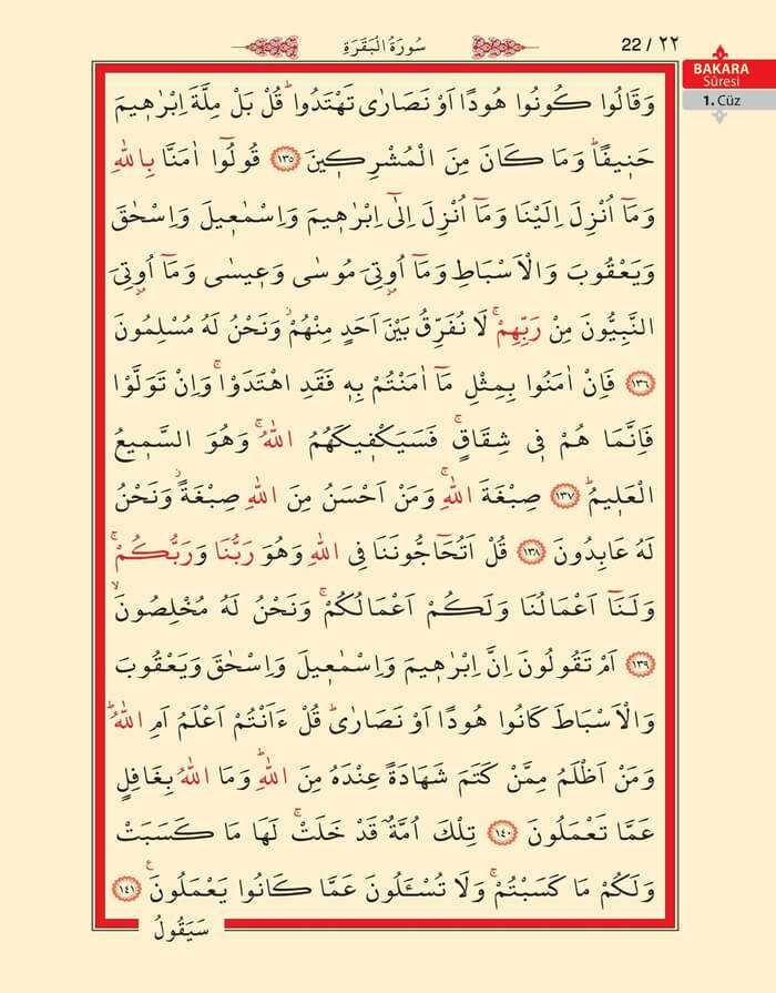Bakara Sûresi - 20.Sayfa - 1. Cüzün 4. Hizbi