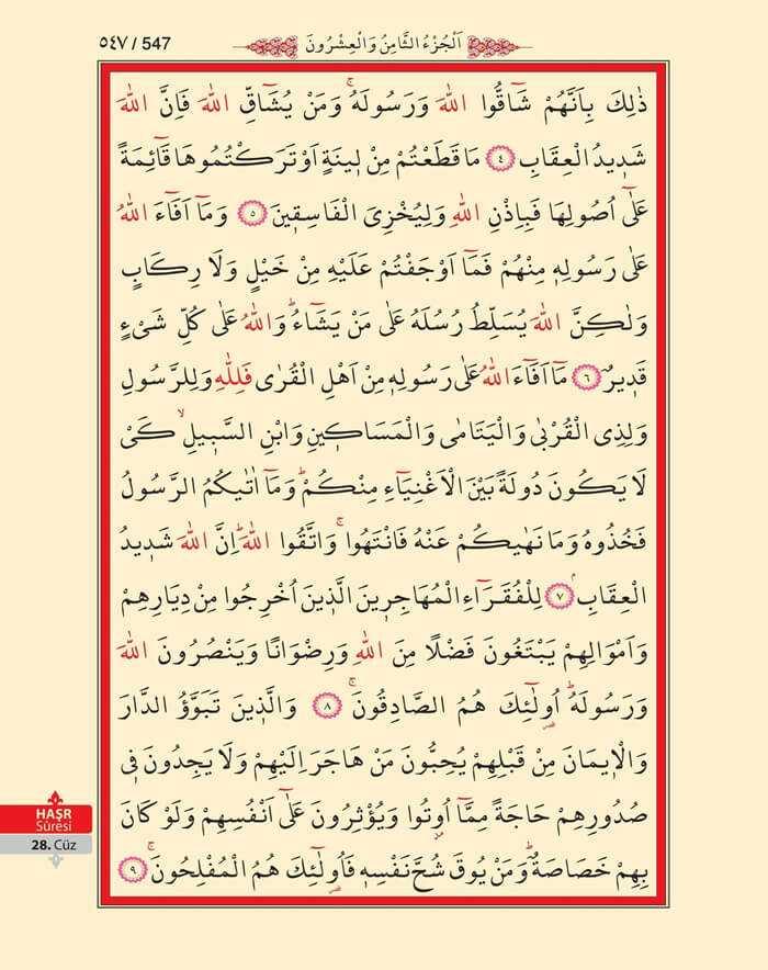 Hasr Suresi - 545.Sayfa - 28. Cüzün 1. Hizbi