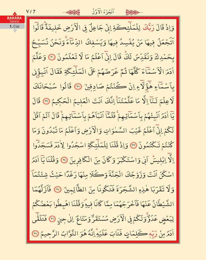 Bakara Sûresi - Beşinci (5).Sayfa - 1. Cüzün 1. Hizbi